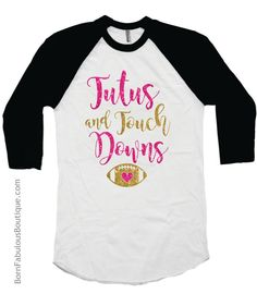 Adorable little shirt for Football lovers! Black and white raglan style shirt is embellished with high quality hot pink and gold glitter vinyl that won't rub off. - 3/4 sleeve raglan - Soft, sheer, hi More