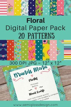 20 hand drawn floral and polka dot patterns are included in this pack of 12 x 12 digital papers. These papers are great for websites, invitations, logos, cards, paper products and much more! #digitalpaper #digitalscrapbooking