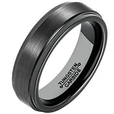 MNH Ring for Men 6mm Black Tungsten Carbide Wedding Band Matte Finish Polished Edge Comfort Fit