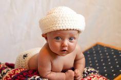 Crochet baby sailor set, hat, diaper cover, red white blue blanket