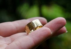 Brass Hammered Ring Gold Rustic Boho Bohemian Chic Style Wide Band Wedding Ring