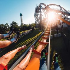 """No Monday blues for @compassrose04 as she rides a roller coaster in Virginia! She used the wrist strap mount to capture this shot while riding the """"Dominator."""" Share your Monday's with us by clicking the link in our profile. #GoPro #GoProGirl #rollercoaster"""