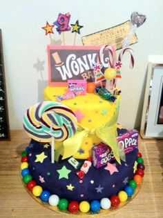 Willy Wonka cake -I like the bubblegum at the bottom