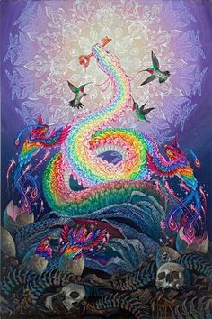 Rainbow serpent riSING Art Visionnaire, Rainbow Serpent, Rainbow Snake, Psychadelic Art, Psy Art, Ouvrages D'art, Visionary Art, Sacred Art, Sacred Geometry