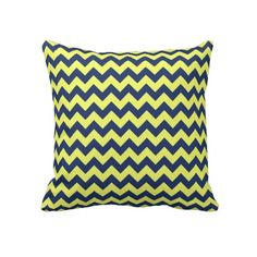 Dark Blue and Yellow Chevron Pattern Throw Pillow