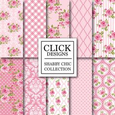 "Shabby Chic Digital Paper: ""SHABBY PINK ROSES"" Floral scrapbook background romantic papers with roses damask for wedding invites carts"
