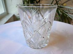 Vintage 1920's Crystal Cut Old Fashioned Glass - Knurls & Fans & X's