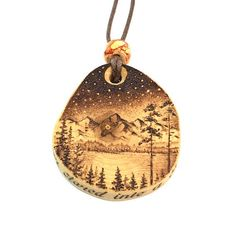 Mountain Landscape with Starry Sky wooden necklace wood