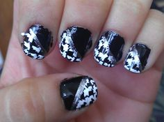 Houndstooth nail art [sorry its a little messy] my-nails