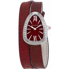 Bvlgari Serpenti Red Lacquered Dial Ladies Double Wrap Leather Watch (13,450 PEN) ❤ liked on Polyvore featuring jewelry, watches, leather-strap watches, analog watches, bulgari jewelry, red jewelry and dial watches