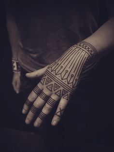 black work tattoo hand girl