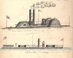 """U.S. Ram Choctaw and U.S. Monitor Winnebago,"" May–July 1864. (Gilder Lehrman Collection)"