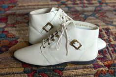 Vintage White Grunge Leather Ankle Booties