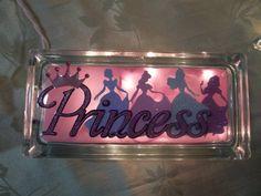 Decorated Princess lighted glass block