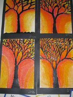 "Pastel tree paintings by 2nd graders; 12"" X 18""; art teacher: Susan Joe artproject"