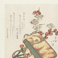 Tabakszak met gordelknoop en pruimenbloesem, Totoya Hokkei, Reireian Itonaga, Ganshôan Michitsura, 1818 - Japanse prenten met Inro-Collected Works of hilda - All Rijksstudio's - Rijksstudio - Rijksmuseum