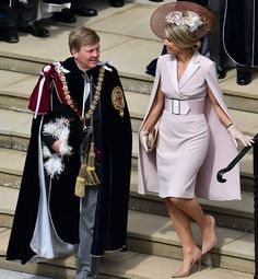 The Duchess is wearing Catherine Walker. Queen Maxima is wearing Claes Iversen. Queen Letizia wore a printed midi dress by Cherubina Queen Maxima, Queen Letizia, Pippa Middleton, Order Of The Garter, Estilo Real, Duchess Of Cornwall, Crown Princess Mary, Mode Vintage, Royal Fashion