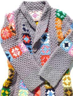 Granny Squares свитера кардигана Винтаж Ретро Boho Бабушка шик моды ручной крючком Дасти Фиолетовый и Радуга Маленький Средний Осень Осень