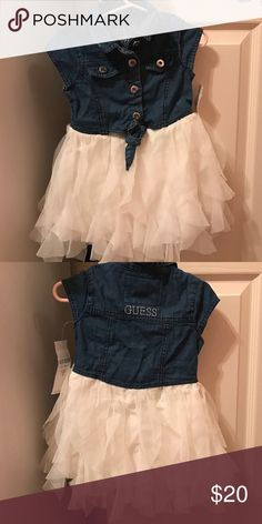 Toddler Girl Clothes Guess denim dress with cream colored tulle. Brand New. Never worn. Runs a little small Dresses Casual