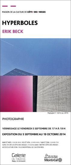 Erik Beck présente des assemblages dont la série polyptyques, où il tente de dégager une nouvelle facture graphique dans ces jumelages aléatoires ainsi que sa série abstractions, où il transcende l'imperceptible en contemplatif. Il trouve des détails urbains souvent cachés et les montre sous forme de tableau, en mettant en valeur des microcosmes si souvent inaperçus.