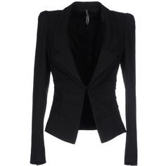Liviana Conti Blazer (445 BRL) ❤ liked on Polyvore featuring outerwear, jackets, blazers, black, tops, single breasted jacket, blazer jacket, pleated jacket, lapel jacket and collar jacket