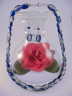 Handmade - Blue Crackle Glass Jewelry Set (Necklace + Earrings)