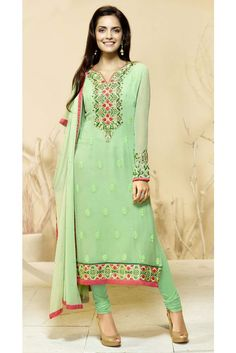 Flaunt your style with this green color embroidered georgette churidar dress. The wonderful attire creates a dramatic canvas with brilliant lace, resham and stones work. Ladies Salwar Kameez, Designer Salwar Suits, Desi Clothes, Churidar, Ethnic Fashion, Indian Dresses, Suits For Women, Party Wear, Cold Shoulder Dress