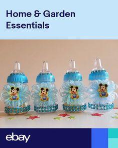 Baby Shower 12 Owl Favor Fillable Bottles Prizes Games Boy Blue Decorations