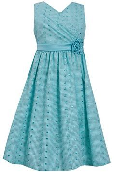 cc052d829d5 Amazon.com  Big Girls Plus Teal Cross Over Surplice Embroidered Eyelet Flare  Dress