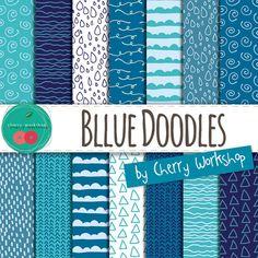 Doodle Digital Paper Blue Digital Paper