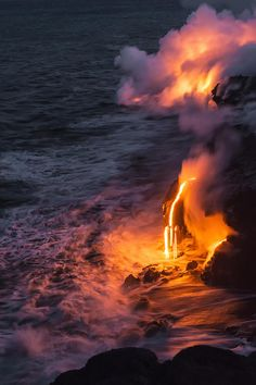 Kilauea Volcano Lava Flow Sea Entry 6 - The Big Island Hawaii Photograph by Brian Harig - Kilauea Volcano Lava Flow Sea Entry 6 - The Big Island Hawaii Fine Art Prints and Posters for Sale All Nature, Amazing Nature, Science Nature, Big Island Hawaii, Landscape Photography, Nature Photography, Scenic Photography, Night Photography, Landscape Photos