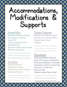 Accommodations, modifications, IEP cheat sheet. Co Teaching, Teaching Special Education, Student Teaching, Teaching Ideas, Education Week, Student Data, Education College, Continuing Education, Physical Education