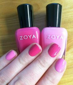 Zoya Nail Polish in Lara (Dark Pink) and Zoya Nail Polish in Shelby (Light Pink). Dark Pink Nails, Pink Nail Colors, Zoya Nail Polish, Nail Polish Colors, Nail Polishes, Natural Nail Polish, Natural Nails, The Art Of Nails, My Nails