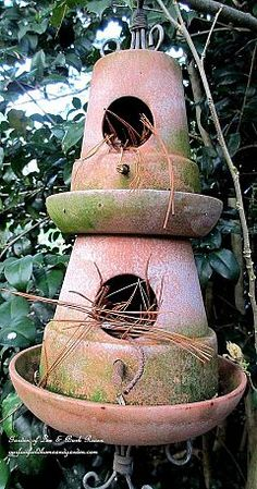 Clay pot birdhouse