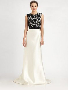 Carmen Marc Valvo  Sequined Lace Gown