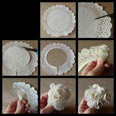 Deko: als Blume in eine Schüssel oder als Girlande Mehr You will love this cute paper doily flowers diy and they are so easy to recreate and look great. Flor de papel, paper doilies turned into flowers tutorial Cut flower costs with paper ones. Paper Doily Crafts, Doilies Crafts, Paper Flowers Diy, Handmade Flowers, Flower Crafts, Diy Paper, Paper Crafting, Fabric Flowers, Papercraft
