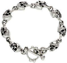 Sterling Silver Skull Bracelet Heavy Handmade, sizes 8, 8.5 and 9 inch