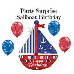 Sailboat Nautical Balloons Birthday Party Anchors by PartySurprise