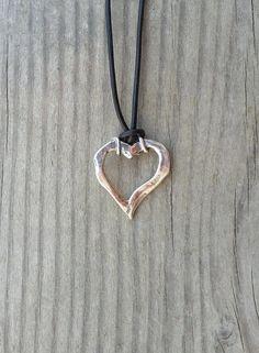 Heart fo Sterling Silver on Leather by smisko on Etsy
