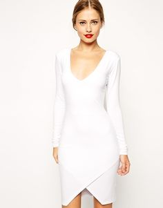 ASOS Plunge Asymmetric Mini Body-Conscious Dress