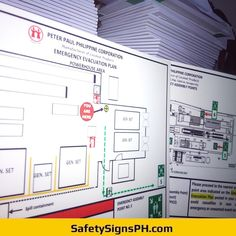 Glow in the Dark Emergency Evacuation Plans Emergency Evacuation Plan, Philippines, Maps, Glow, Floor Plans, How To Plan, Map, Sparkle, Cards
