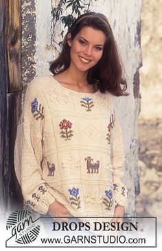 "DROPS 38-6 - DROPS jumper with square pattern in ""Muskat"". Size S – L. - Free pattern by DROPS Design"