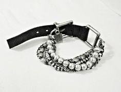 KSZU- Multii Chain Silver & Leather Bracelet Beaded Bracelets, Belt, Chain, Silver, Leather, Accessories, Jewelry, Fashion, Belts