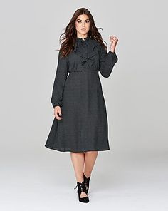 Simply Be Spot Pussybow Ruffle Dress   Simply Be