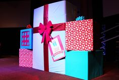 These giant presents made up our Jingle Jam stage design.
