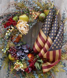 Americana Wreath, Patriotic, Boston, Williamsburg, Fourth of July, Tea Stained Flag. $189.00, via Etsy.