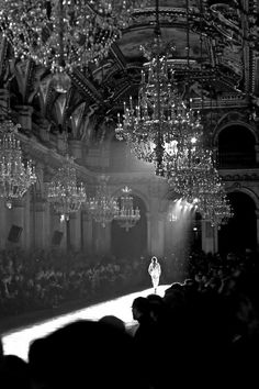 I think that this is the most dramatic, quietly moving picture that I have ever seen of a runway. It takes away from the people ogling the dress and leaves the beauty of fashion and the mystery of trends in the light and shadow.