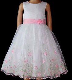 Mädchenkleid Blumenmädchenkleid Hochzeitskleid Taufkleid Gr. 80-128 in 2 Farben