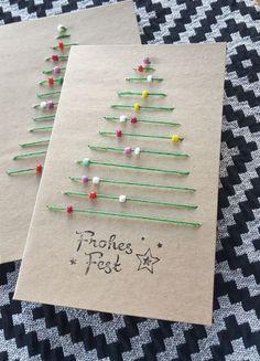 Christmas Cards Handmade Kids, Christmas Tree Cards, Noel Christmas, Christmas Gifts, Christmas Ornaments, Creative Christmas Cards, Ornaments Ideas, Homemade Christmas Cards, Xmas Trees