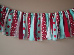 Red, Turquoise and White Polka Dot Rag Tie Banner Ready To Ship Garland/Banner/Bunting Photo Prop on Etsy, $18.00